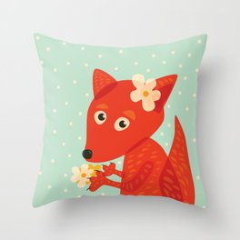Cute Fox And Flowers Throw Pillow