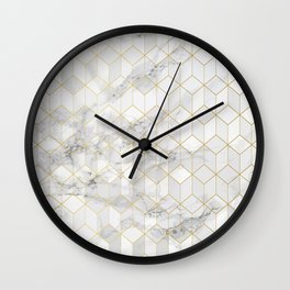White Marble with Gold Cube Pattern Wall Clock