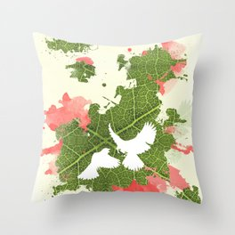 Leaf Bird Throw Pillow