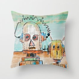 """Two Robot Dudes waiting for a Spaceship to go To Thompsonville near the AZ Strip"" Throw Pillow"
