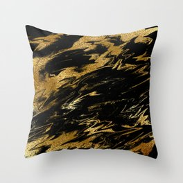 Luxury and sparkle gold glitter and black marble Throw Pillow