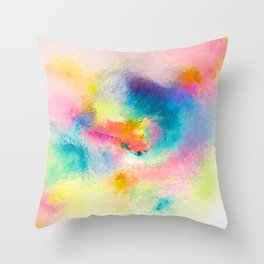 Vibrant Rainbow Watercolor Abstract Throw Pillow