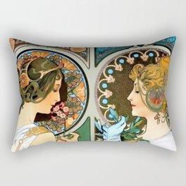"Alphonse Mucha ""Primrose and Feather"" Rectangular Pillow"