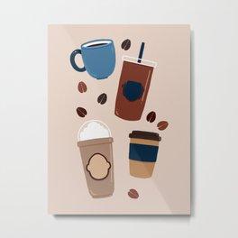 Coffee Love - Brown and blue palette Metal Print