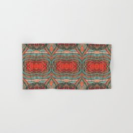 Coral Red Teal Modern Agate Damask Abstract Hand & Bath Towel