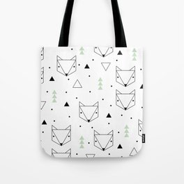 Scandinavian woodland fox forest mint black and Tote Bag