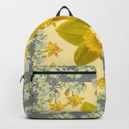 CREAMY SPRING DAFFODILS & FLOWERS GREY GARDEN Backpack