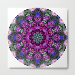 Floral finery - kaleidoscope of blue, plum, rose and green 1650 Metal Print