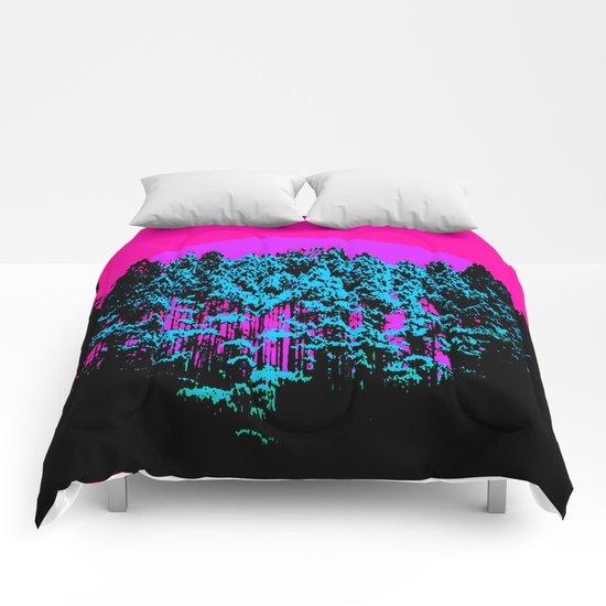 Mod Trees: Fuchsia Purple Turquoise Comforters
