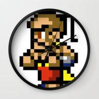final fantasy Wall Clocks featuring Final Fantasy II - Yang by Nerd Stuff