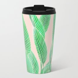 Modern pink tropical green watercolor hand painted leaf pattern Travel Mug