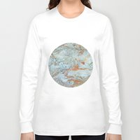 jewish Long Sleeve T-shirts featuring Marble in shades of blue and gold by Brown Eyed Lady