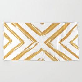 Minimalistic Gold Paint Brush Triangle Diamond Pattern Beach Towel