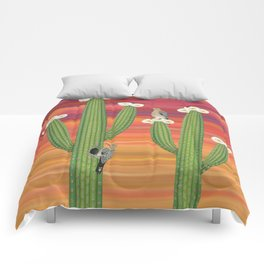 gila woodpeckers on saguaro cactus Comforters