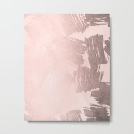 Rose Gold Pastel Pink Paint Brush Metal Print