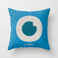 monster inc Throw Pillows featuring Monster, Inc. - Blue (Vintage) by Lemontrend Studio