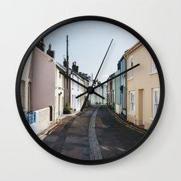 Colourful terrace houses in Devon, UK. Wall Clock