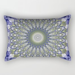 Mandala in blue and olive tones Rectangular Pillow
