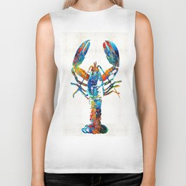 Colorful Lobster Art by Sharon Cummings Biker Tank