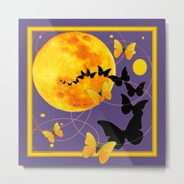 Puce Color Butterfly Full Moon Art Abstract Metal Print