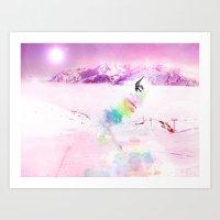 snowboard Art Prints featuring Snowboard & Mountain by Julien Kaltnecker