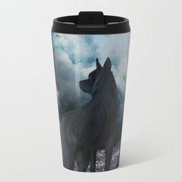 The lonely wolf in the dark night Travel Mug