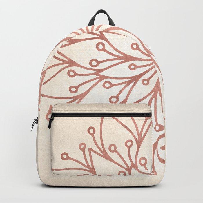 Mandala Rose Gold Petals on Cream Backpack