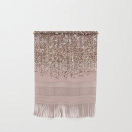 Blush Pink Rose Gold Bronze Cascading Glitter Wall Hanging
