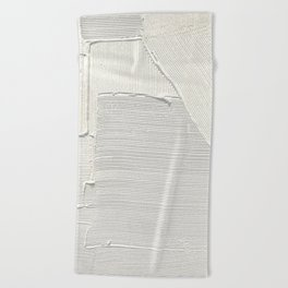 Relief [2]: an abstract, textured piece in white by Alyssa Hamilton Art Beach Towel