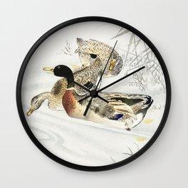 Three ducks in the water - Japanese vintage woodblock print Wall Clock