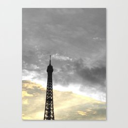 Paris Eiffel tower black and white with color GOLD Canvas Print