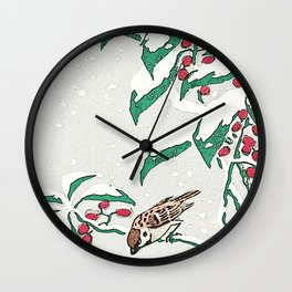 Christmas card . Detail snow sparrows 3 Wall Clock