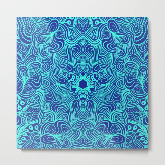 Blue on Blue, abstract pattern Metal Print