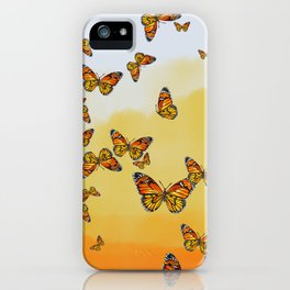 Monarch Butterflies on Watercolor Ombre Background iPhone Case