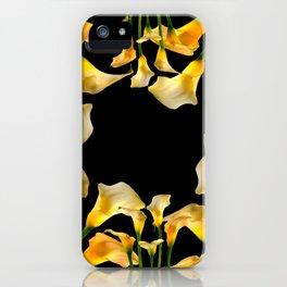Golden Calla Lilies Black Garden Art iPhone Case