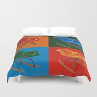 eames Duvet Covers featuring Eames Rocker  by Redeemed Ink by - Kagan Masters