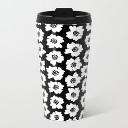Linocut botanical nature floral flower art nursery black and white decor newborn Metal Travel Mug