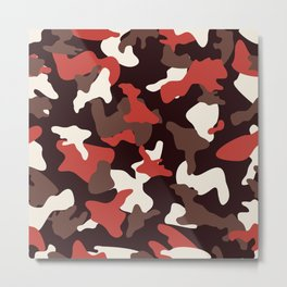 Red camo camouflage army pattern Metal Print