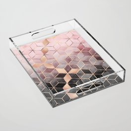 Pink And Grey Gradient Cubes Acrylic Tray