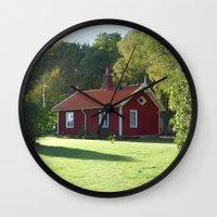 swedish Wall Clocks featuring Swedish Cottage  by Sarah Osterman