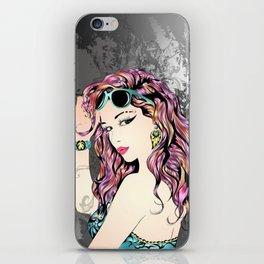 Punk Fashion Girl iPhone Skin