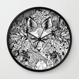 hidden fox Wall Clock