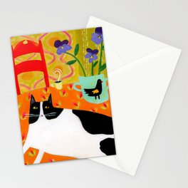 Tuxedo Cat on the Table with Black Bird planter Stationery Cards