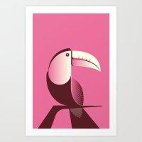 Toucan Bird Pink Art Print