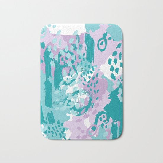 Riley - modern abstract trendy color palette nursery art decor lilac turquoise happy painting Bath Mat