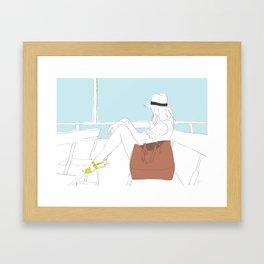 Fashion Girl on the Ferry Framed Art Print