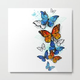 Flying Butterflies Morpho and Monarch Metal Print