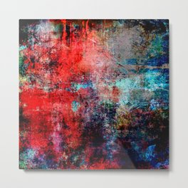 Modern  Red Abstract Design Metal Print