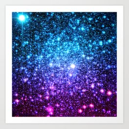 Glitter Galaxy Stars : Turquoise Blue Purple Hot Pink Ombre Art Print