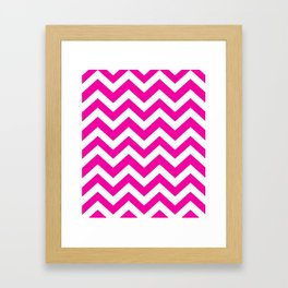 Hollywood cerise - fuchsia color - Zigzag Chevron Pattern Framed Art Print